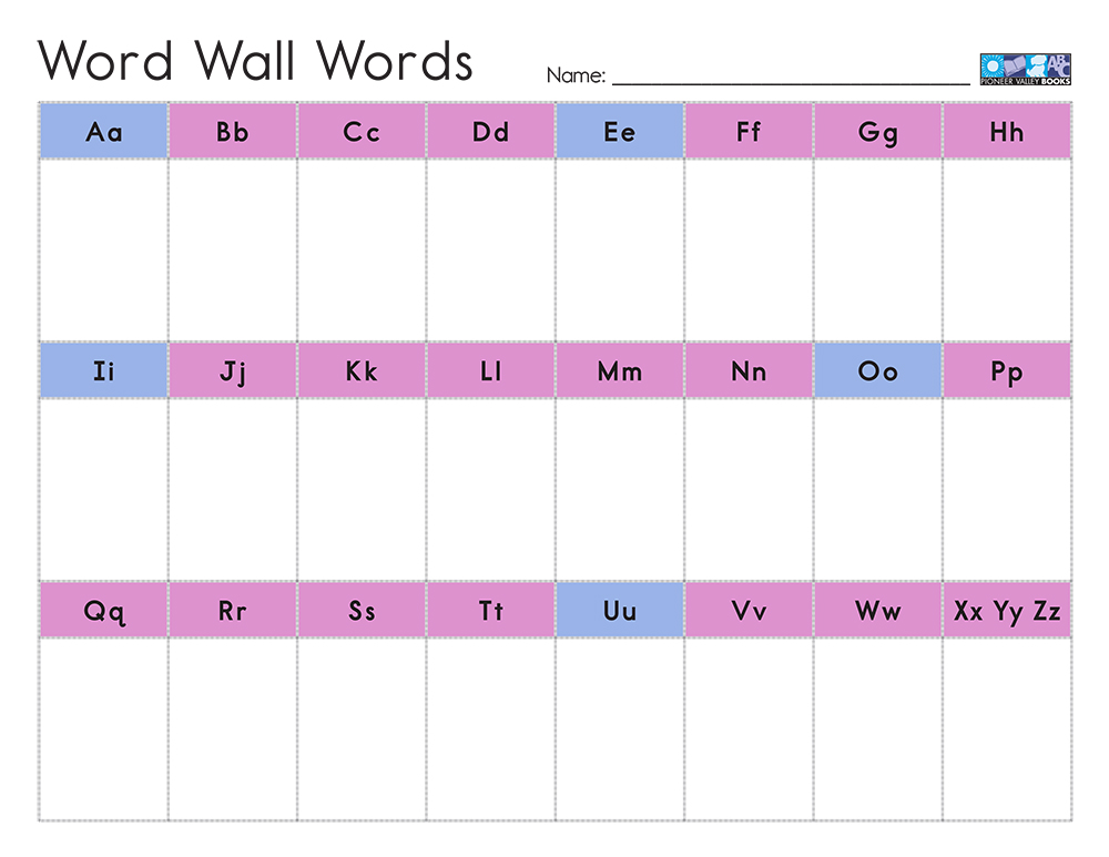 Downloadable Word Wall