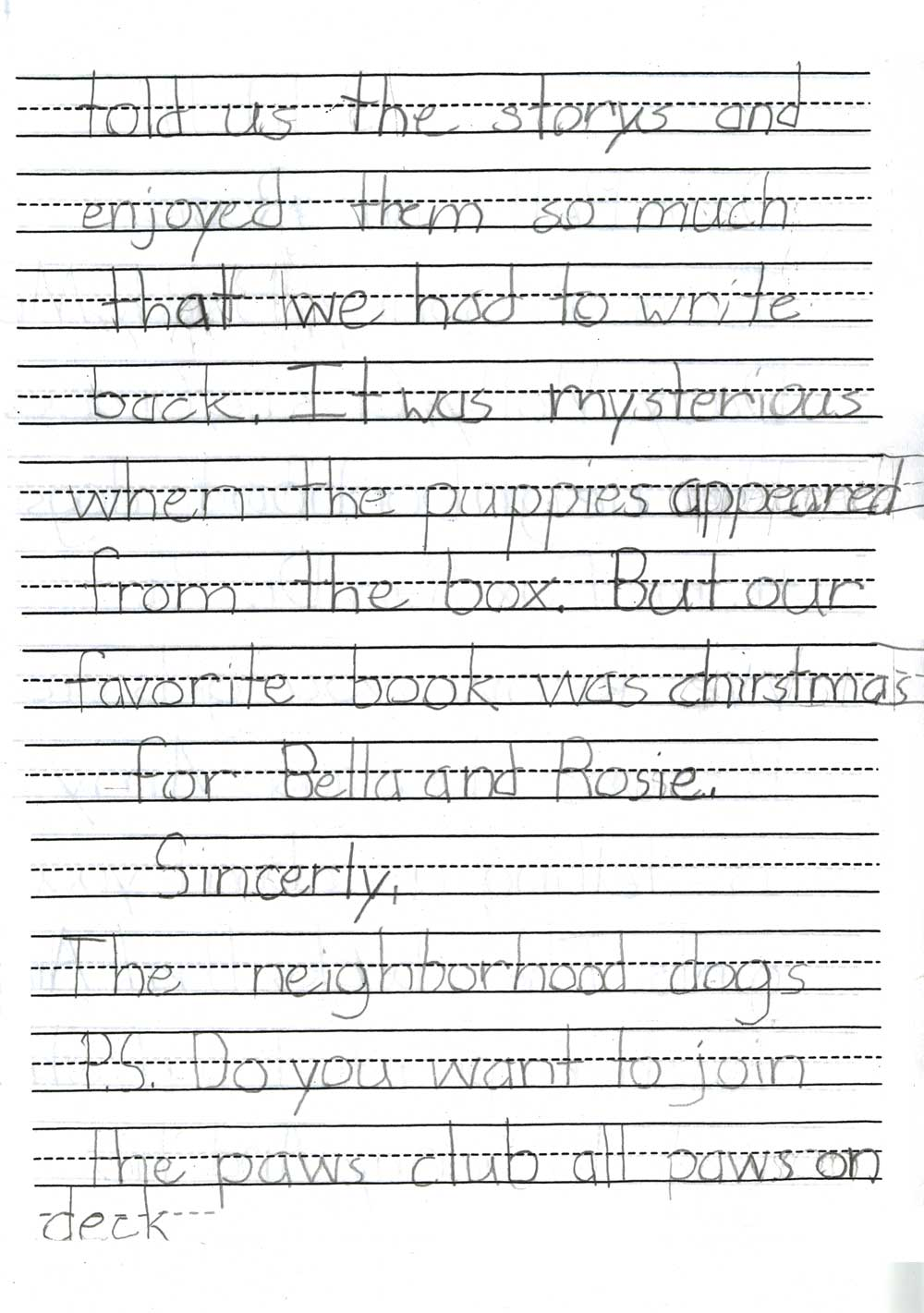 Letter from the neighborhood dogs - page 2