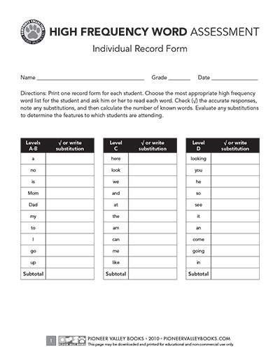 Pawprints Individual Record Form